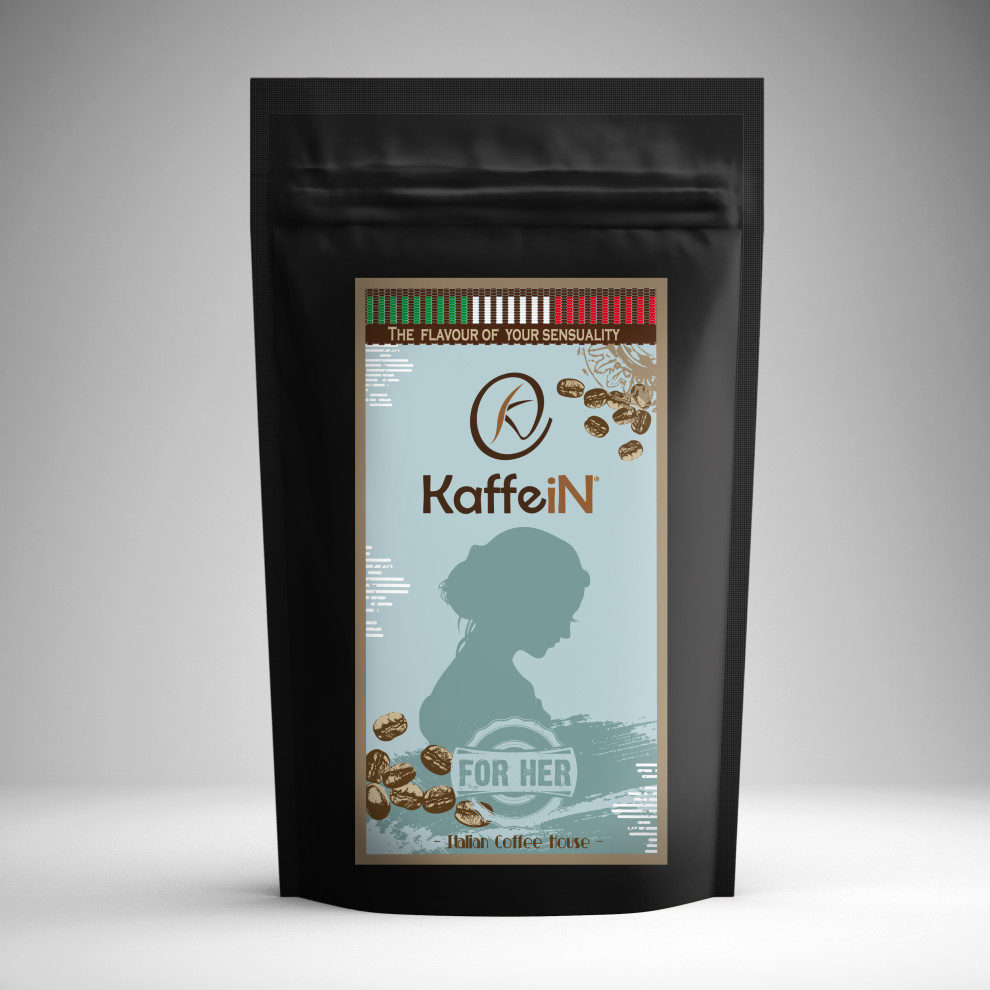 "Elaborazione grafica etichetta packaging food ""for her"" KaffeiN"