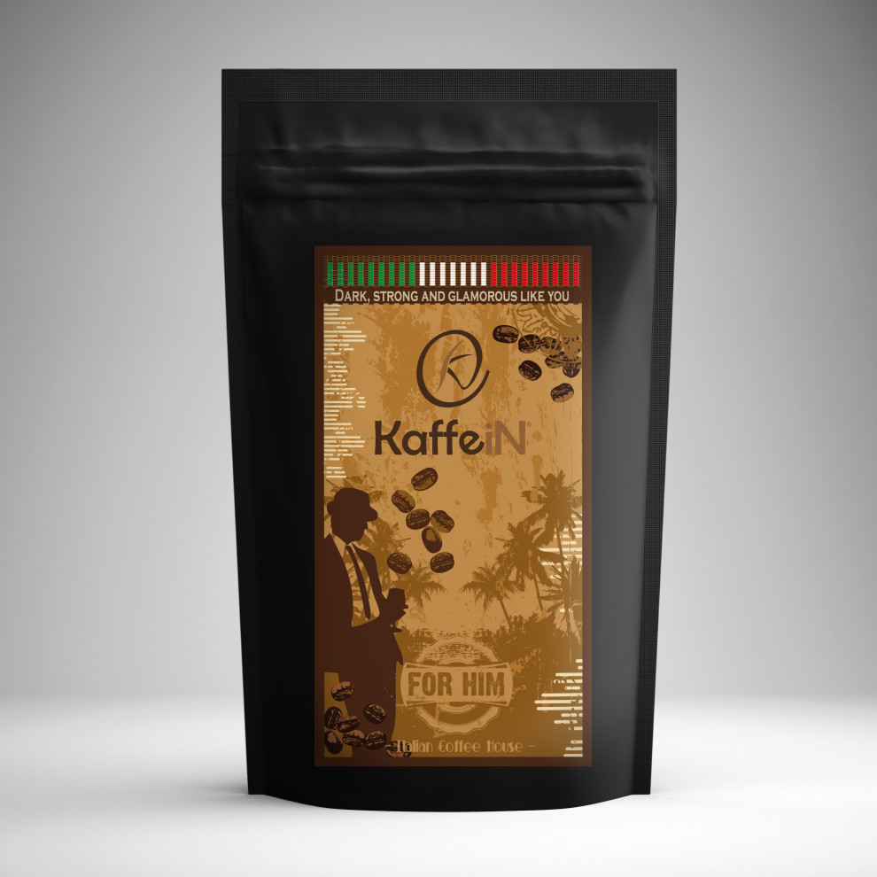 "Elaborazione grafica etichetta packaging food ""for him"" KaffeiN"